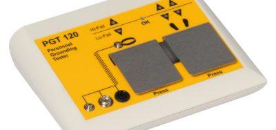 Elektronisches Prüfgerät zur Kontrolle von Personenerdungssystemen wie elektrostatisch ableitenden Handgelenkbändern und ableitfähiges Schuhwerk.